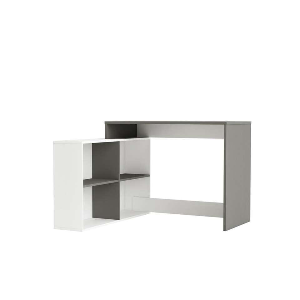Demeyere bureau Corner - grijs/wit - 76,7x111,9x100,7 cm - Leen Bakker