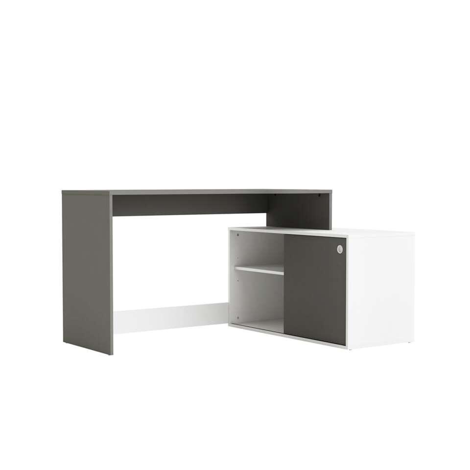 Demeyere bureau Seattle - wit/grijs - 76,7x102,2x145,8 cm - Leen Bakker