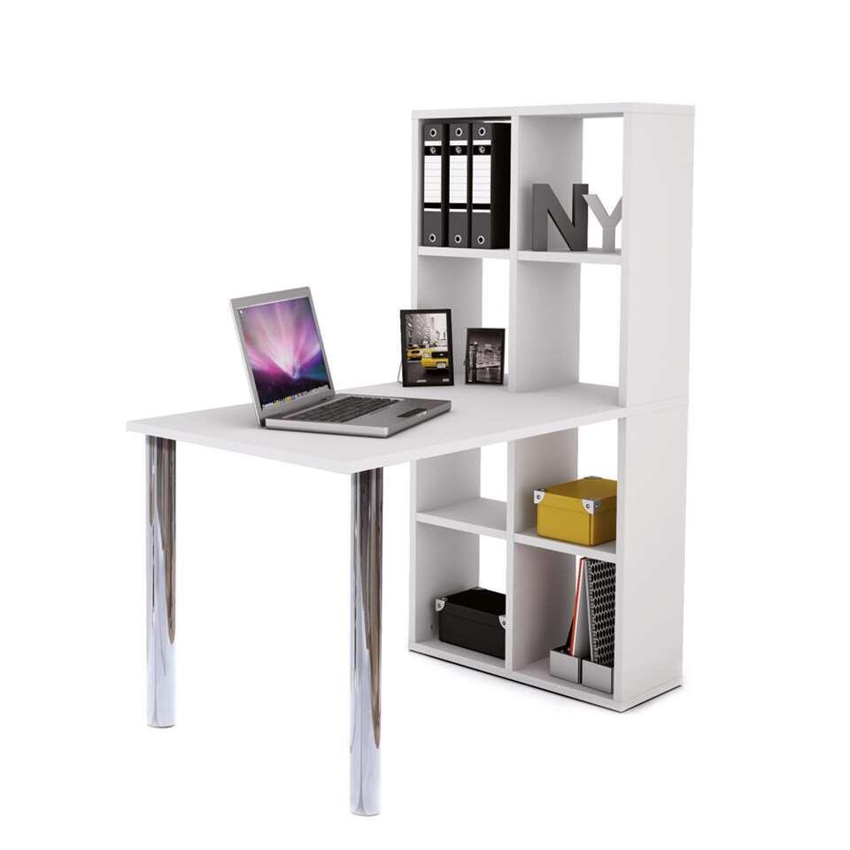 Demeyere bureau met boekenkast Lexinton - wit - 142x120x66 cm - Leen Bakker