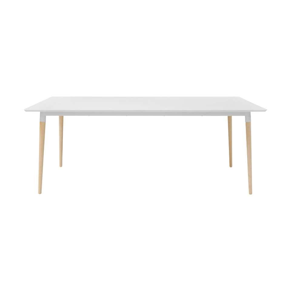 Eetkamertafel Elverum - wit/eiken - 75x100x200 cm - Leen Bakker