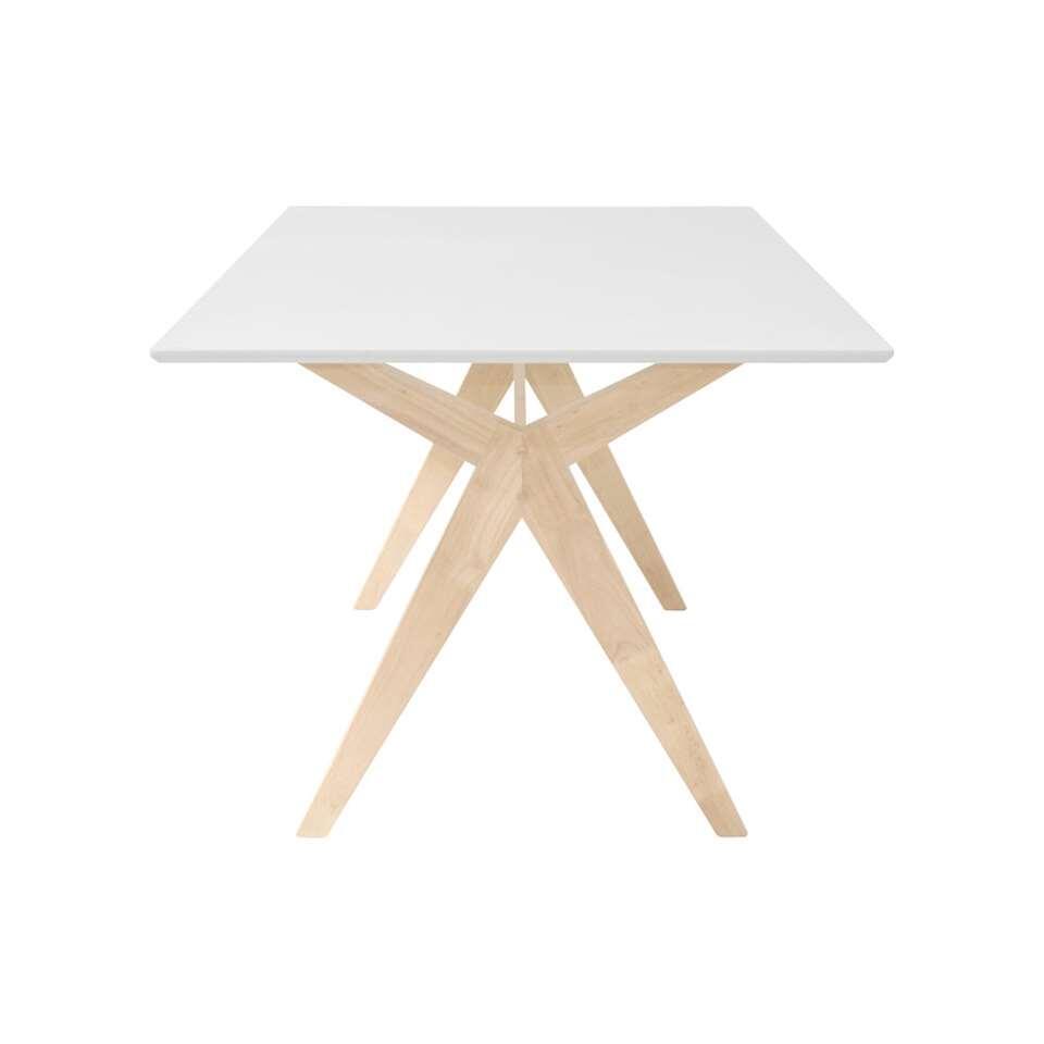 Eetkamertafel Halden - wit/eiken - 74x90x160 cm - Leen Bakker
