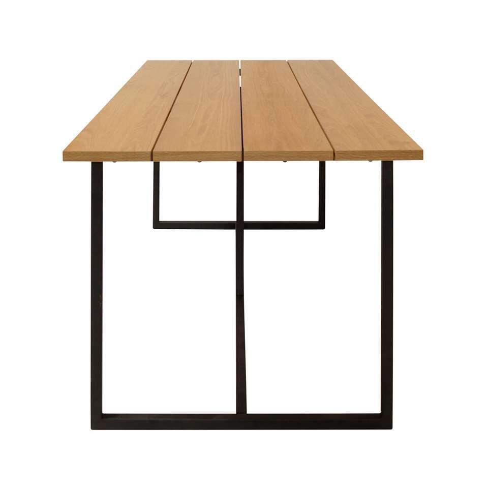 Eetkamertafel Karlsborg - eiken/zwart - 75,5x200x89,5 cm - Leen Bakker