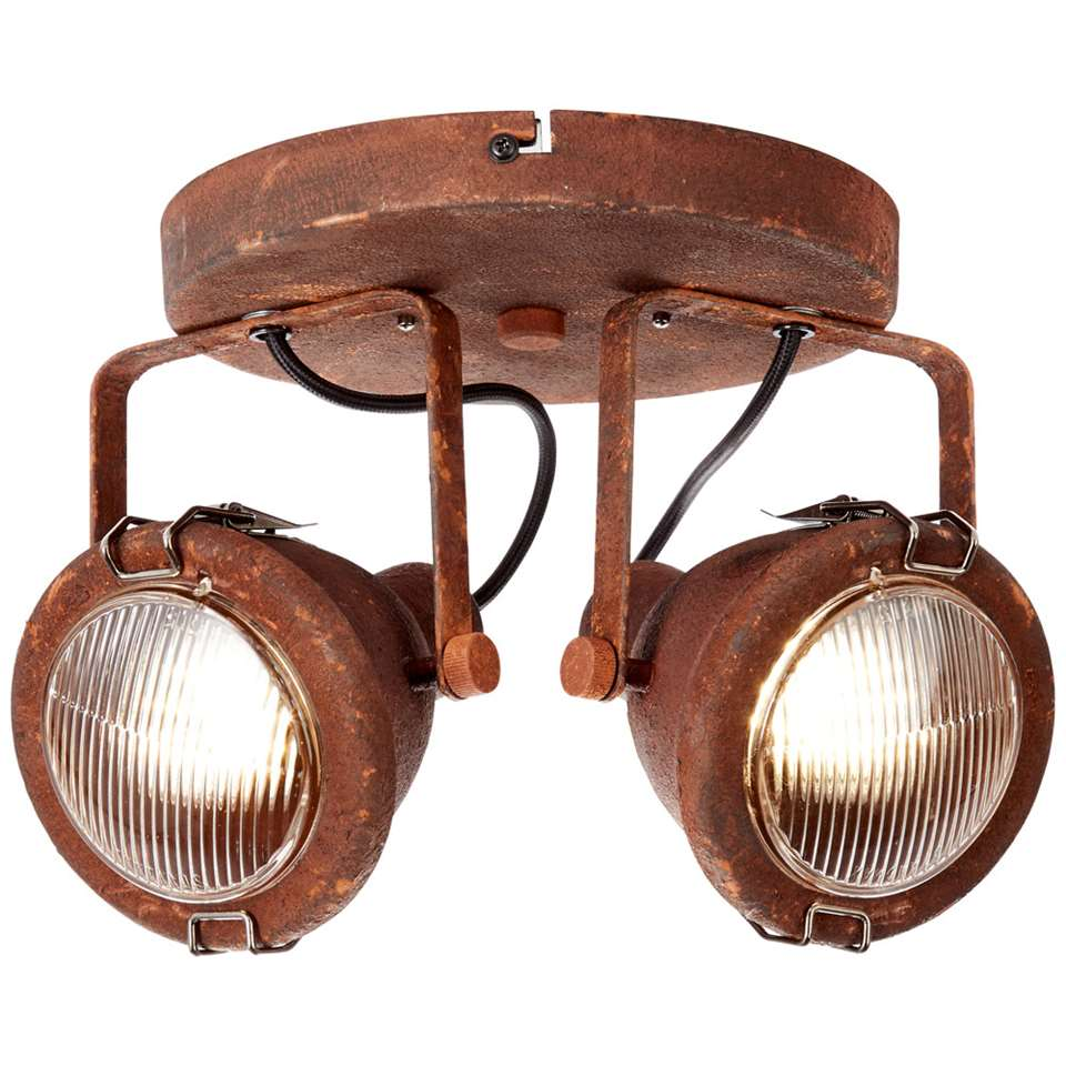 Brilliant 2-spot plafondlamp Bentli – roest/zwart – Leen Bakker