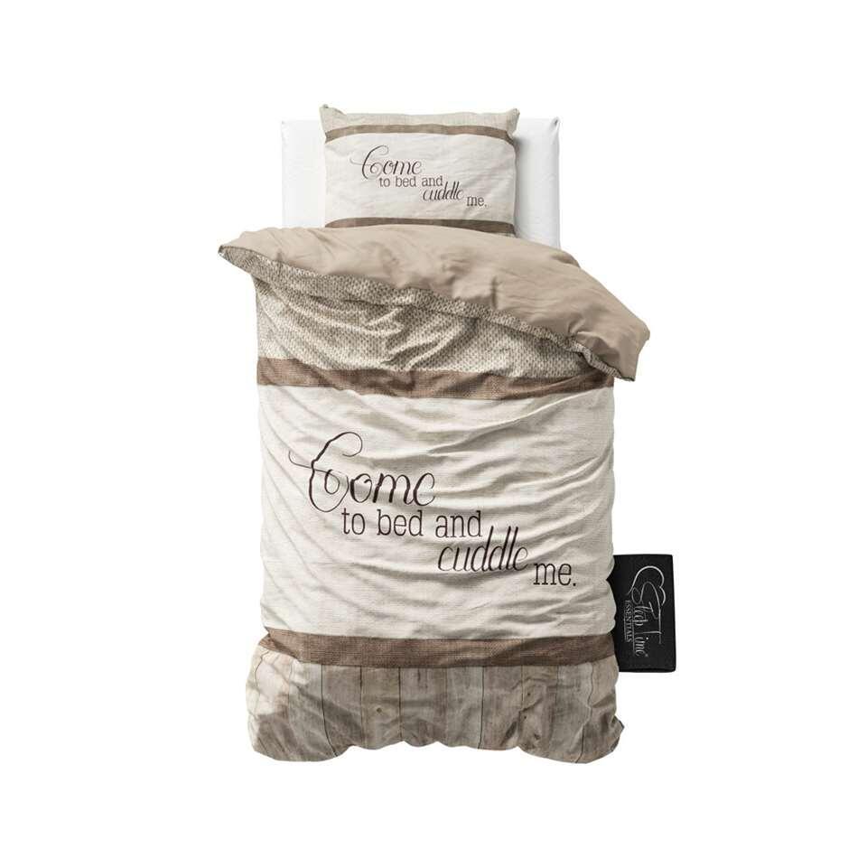 Sleeptime dekbedovertrek Come and Cuddle - taupe - 140x220 cm - Leen Bakker