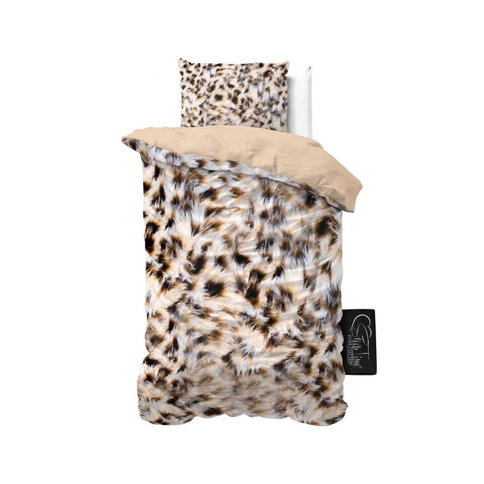 Sleeptime dekbedovertrek Cheetah Skin - taupe - 140x220 cm - Leen Bakker