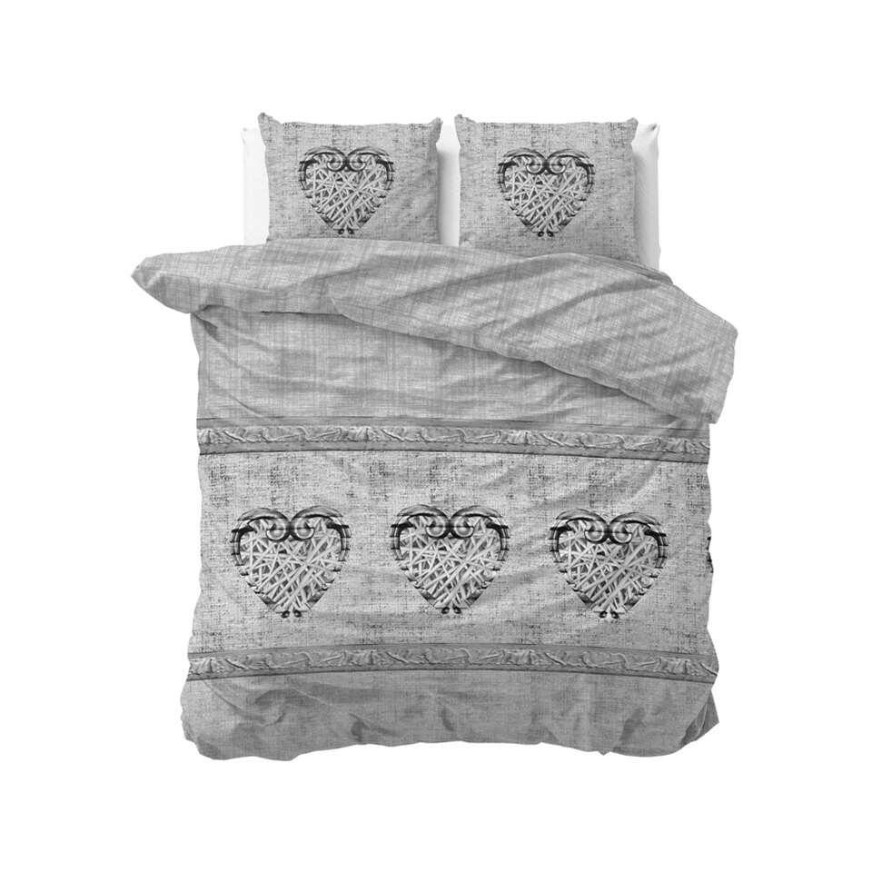 Sleeptime dekbedovertrek Hearts vintage - grijs - 140x220 cm - Leen Bakker