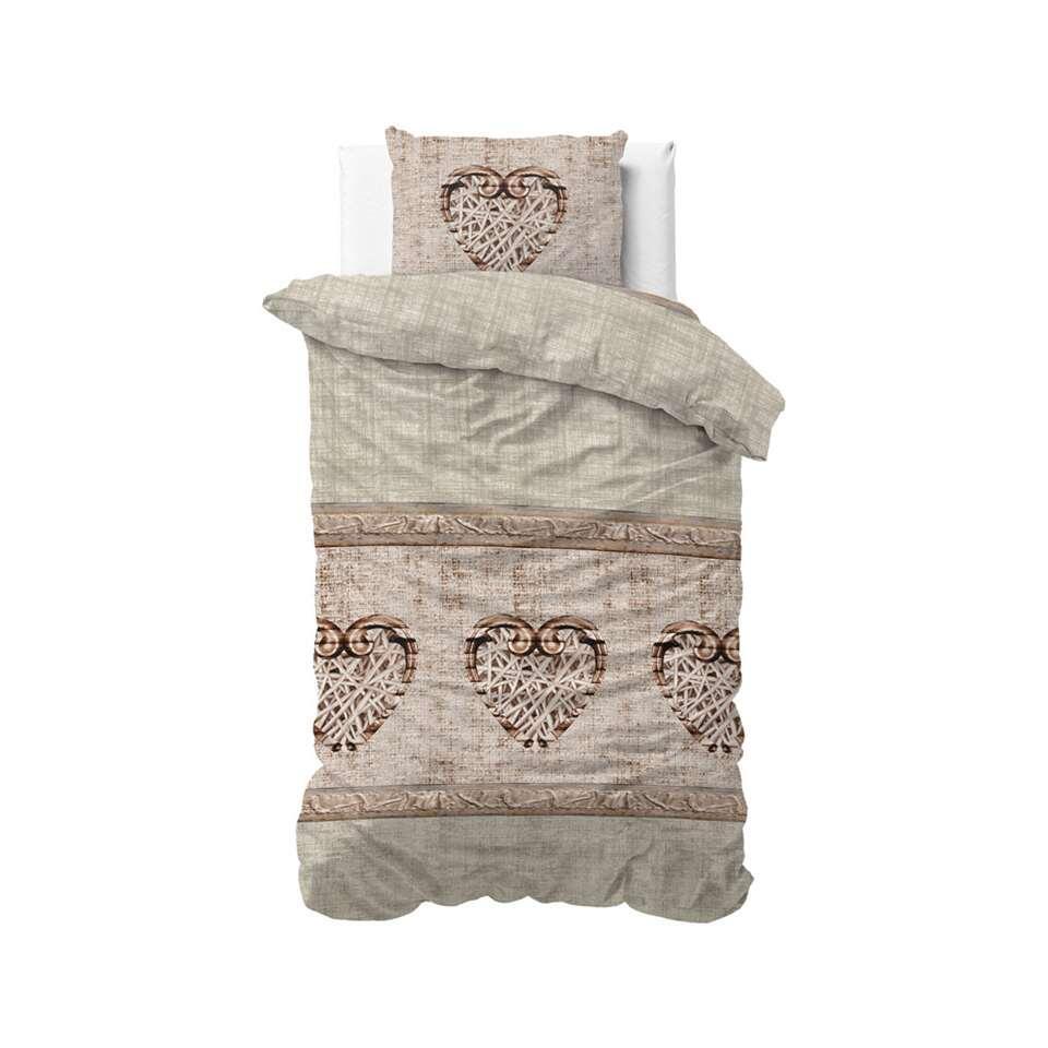Sleeptime dekbedovertrek Hearts vintage - taupe - 140x220 cm - Leen Bakker
