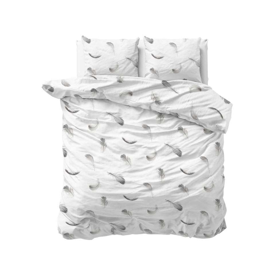 Sleeptime dekbedovertrek Vintage feathers - wit - 200x220 cm - Leen Bakker