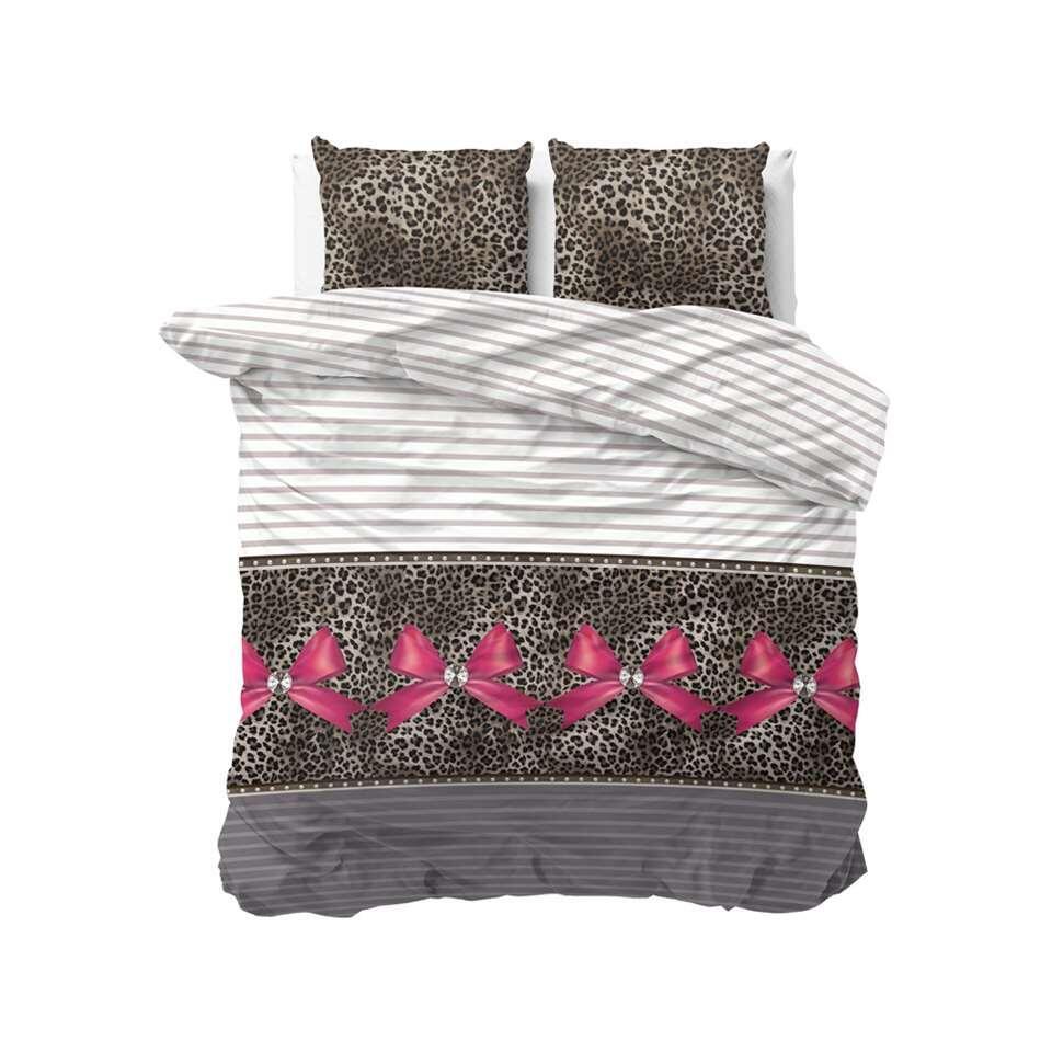 Sleeptime dekbedovertrek Panther love - taupe - 200x220 cm - Leen Bakker