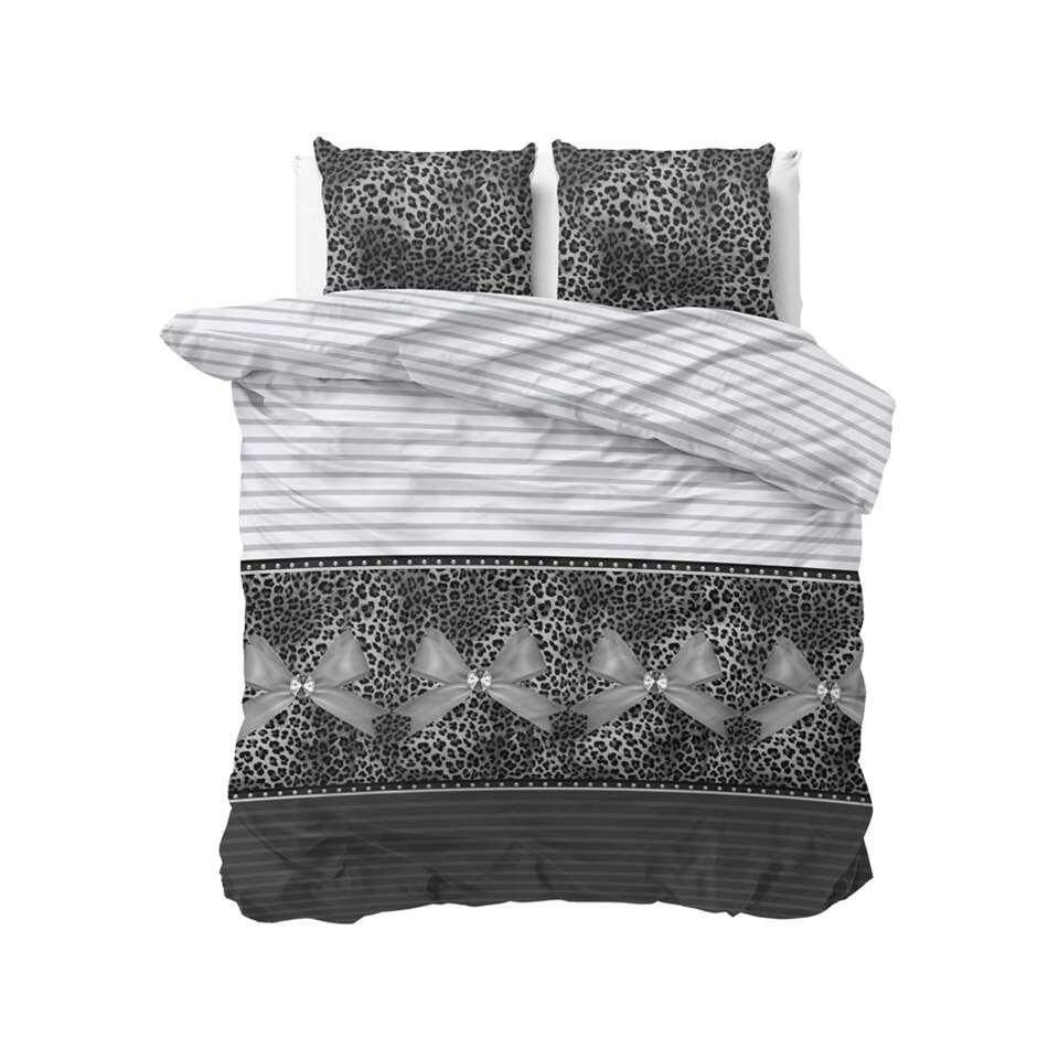 Sleeptime dekbedovertrek Panther love - grijs - 240x220 cm - Leen Bakker