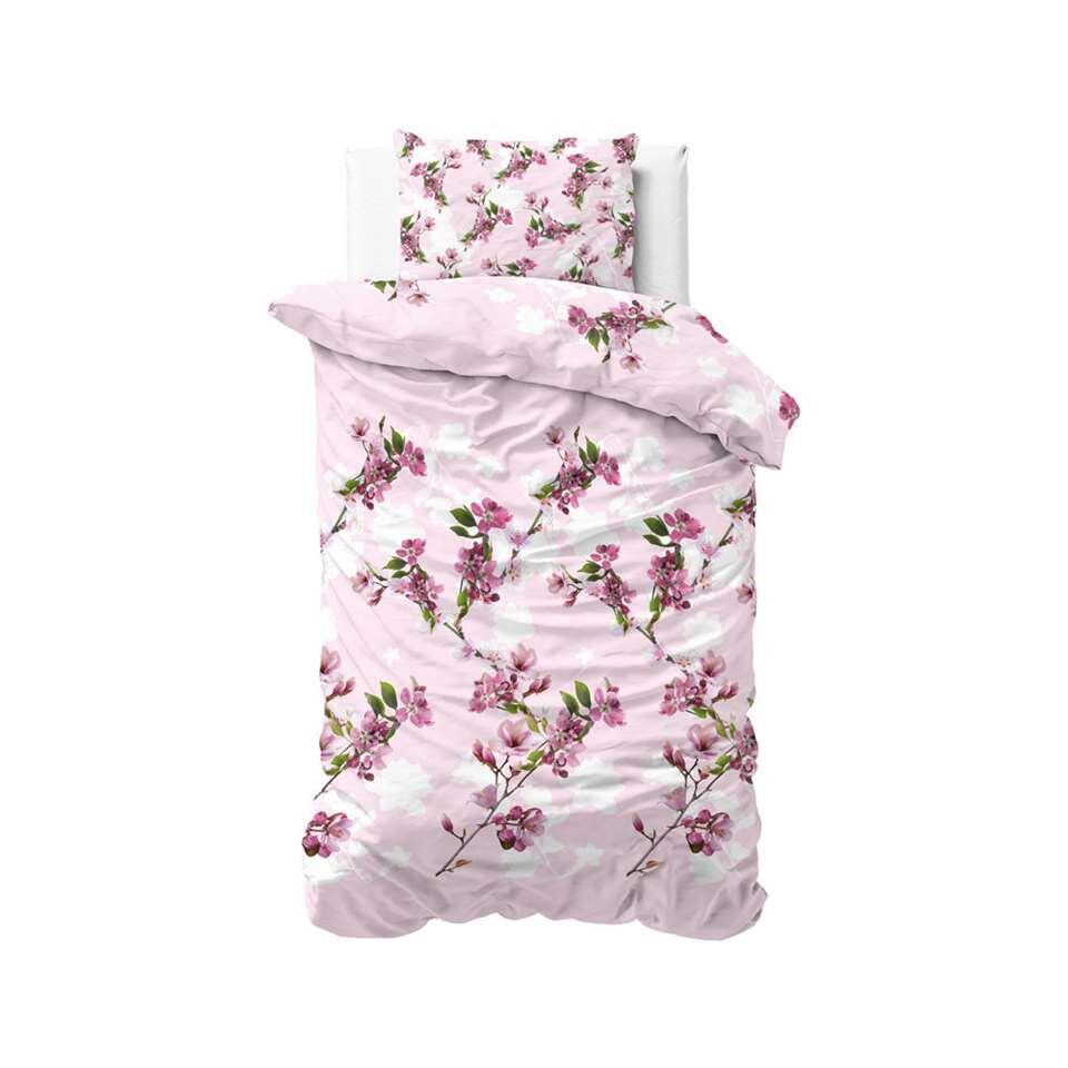 Sleeptime dekbedovertrek Flower blush - roze - 140x220 cm - Leen Bakker