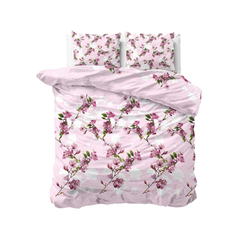 Sleeptime dekbedovertrek Flower blush - roze - 240x220 cm - Leen Bakker