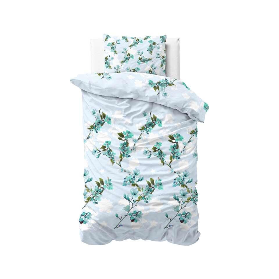 Sleeptime dekbedovertrek Flower blush - turquoise - 140x220 cm - Leen Bakker