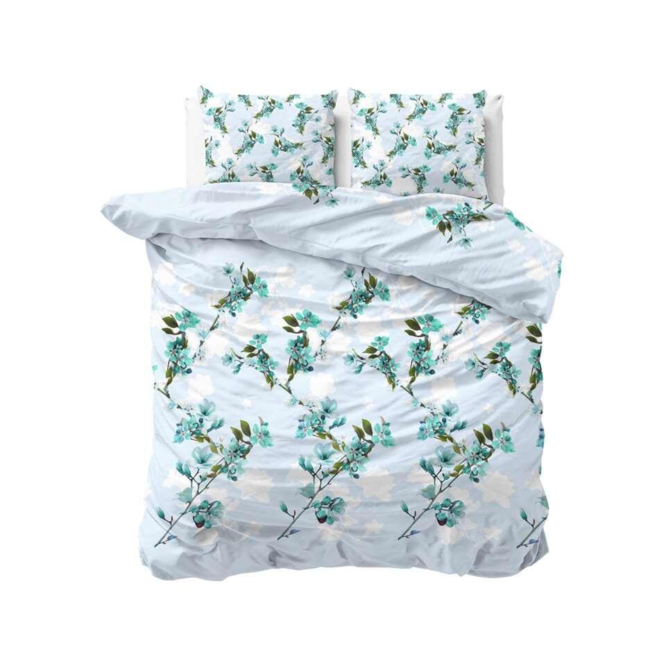 Sleeptime dekbedovertrek Flower blush - turquoise - 200x220 cm - Leen Bakker
