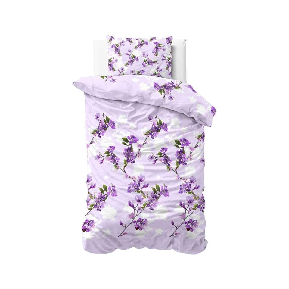 Sleeptime dekbedovertrek Flower blush - purple - 140x220 cm - Leen Bakker