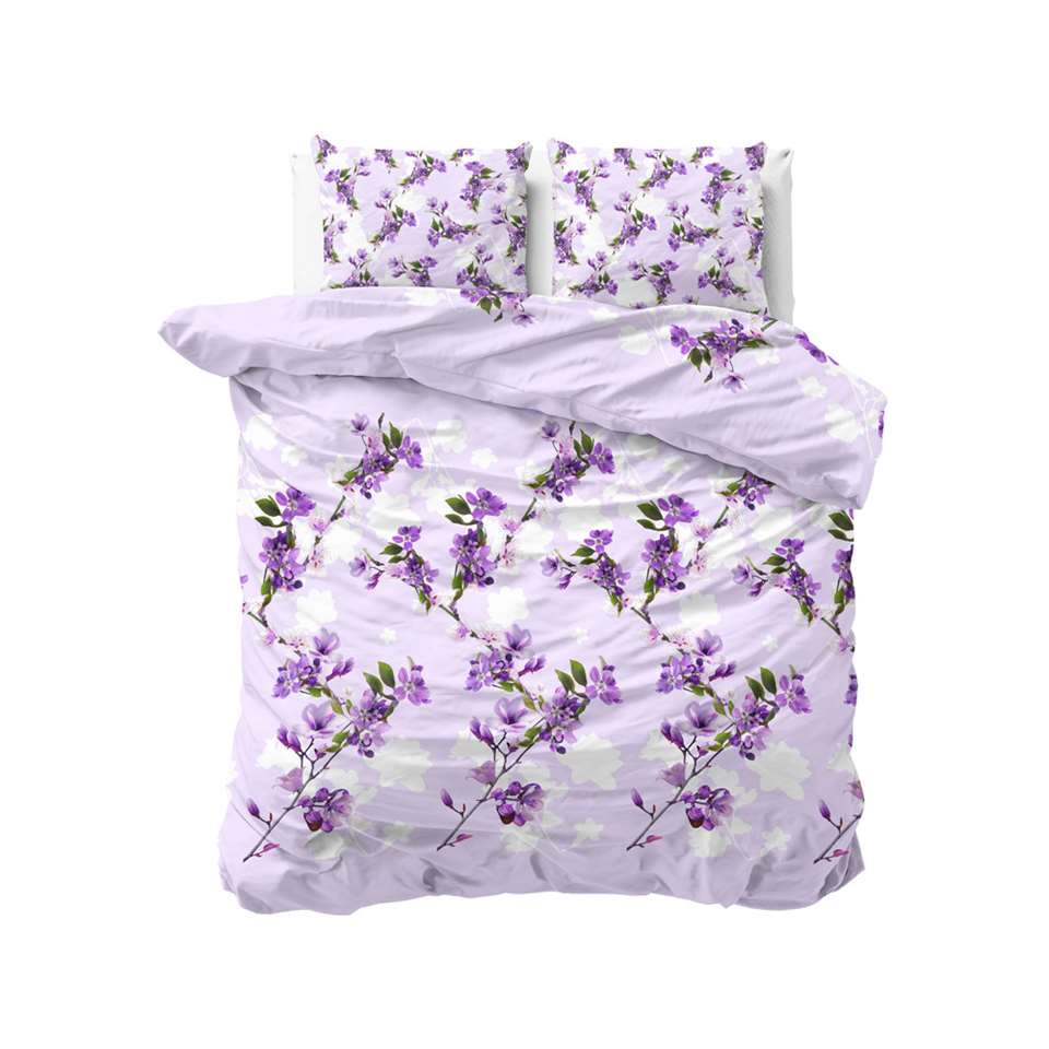 Sleeptime dekbedovertrek Flower blush - purple - 200x220 cm - Leen Bakker