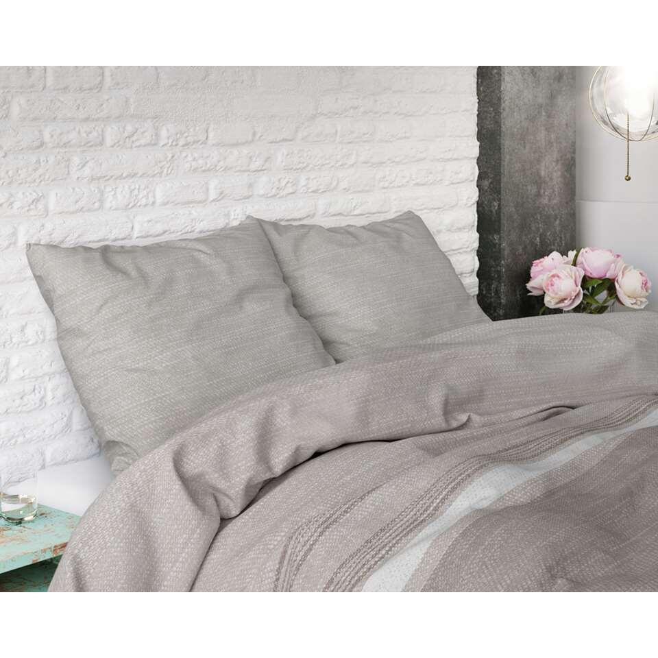 Sleeptime dekbedovertrek Stone stripe - taupe - 140x220 cm - Leen Bakker