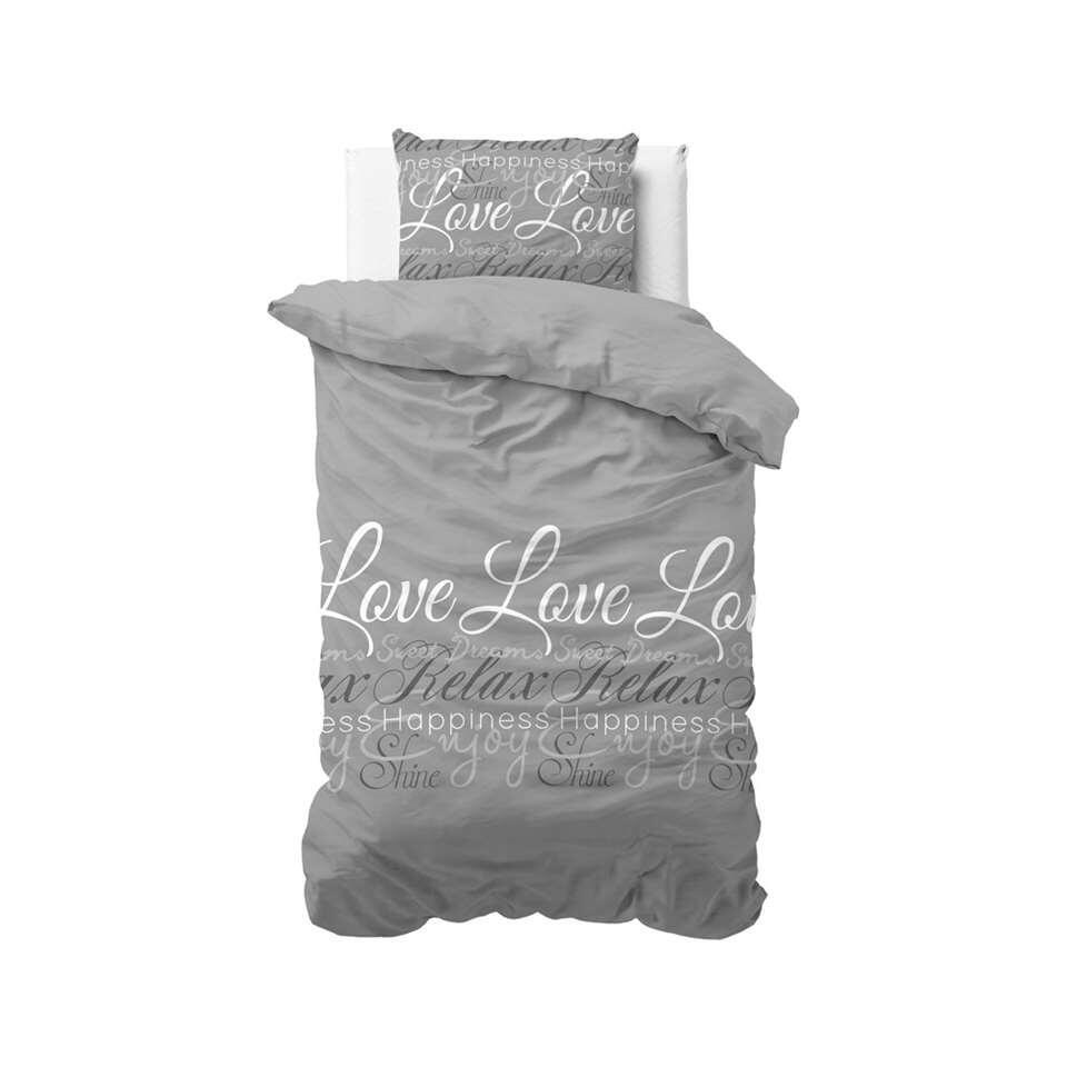 Sleeptime dekbedovertrek Love and relax - grijs - 140x220 cm - Leen Bakker