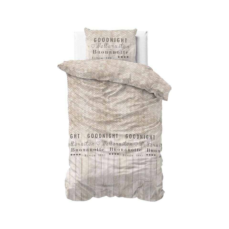 Sleeptime dekbedovertrek Goodnight wood - taupe - 140x220 cm - Leen Bakker