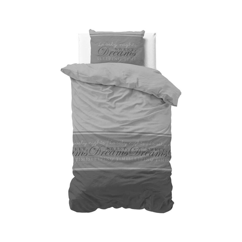 Sleeptime dekbedovertrek Sweet dreams 2 - antraciet - 140x220 cm - Leen Bakker