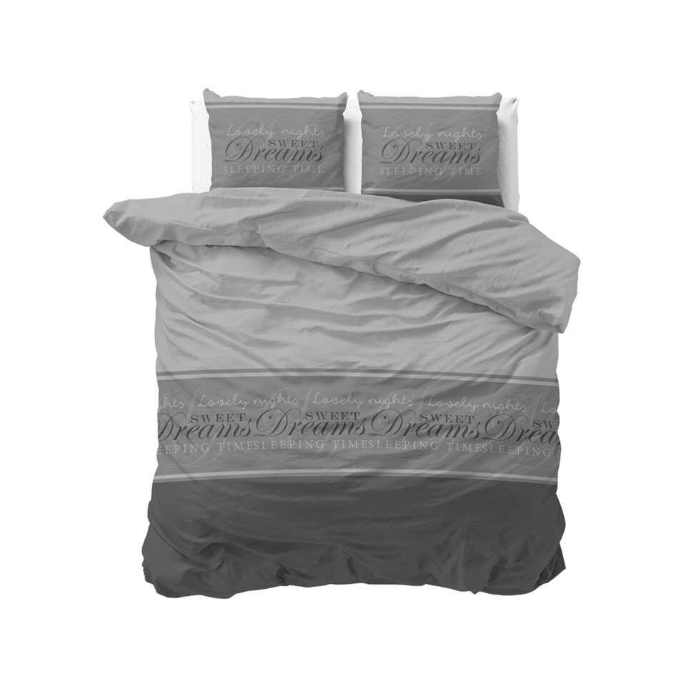 Sleeptime dekbedovertrek Sweet dreams 2 - antraciet - 200x220 cm - Leen Bakker
