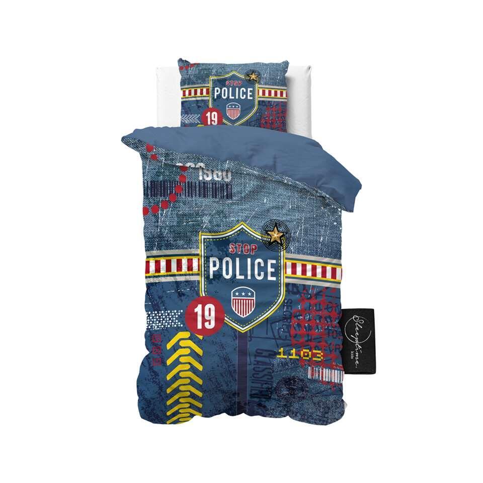 Sleeptime4kids dekbedovertrek Policeman - blauw - 140x200 cm - Leen Bakker