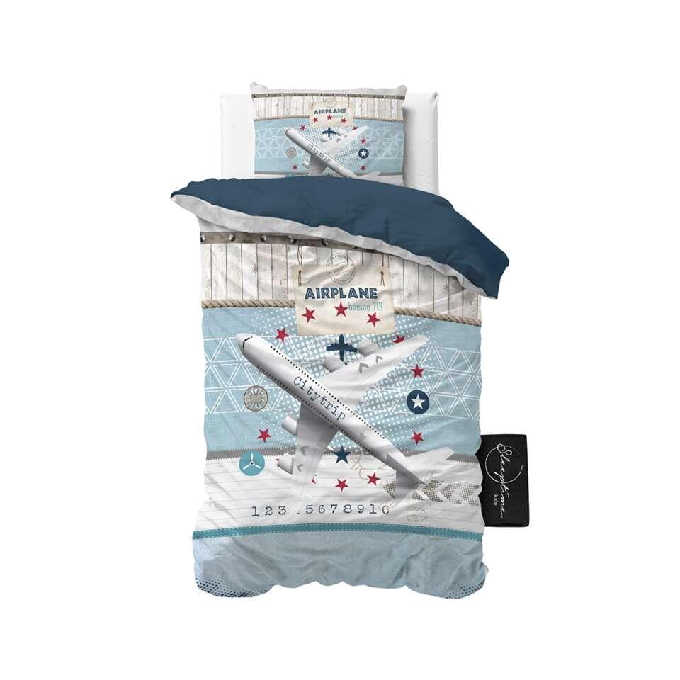 Sleeptime4kids dekbedovertrek Airplane 713 - blauw - 140x200 cm - Leen Bakker