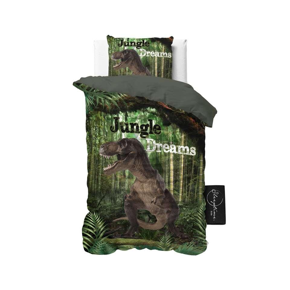 Sleeptime4kids dekbedovertrek Jungle dreams - groen - 140x200 cm - Leen Bakker