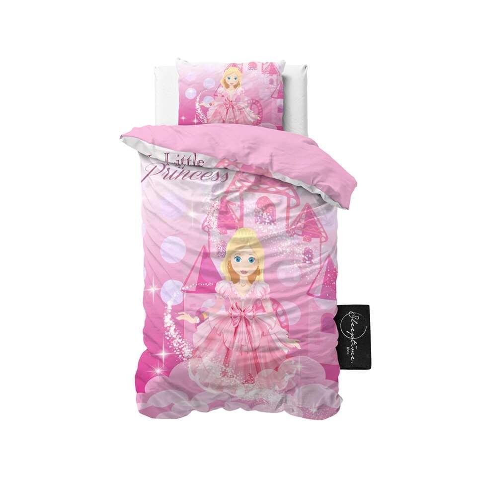 Sleeptime4kids dekbedovertrek Lovely princess - roze - 140x200 cm - Leen Bakker