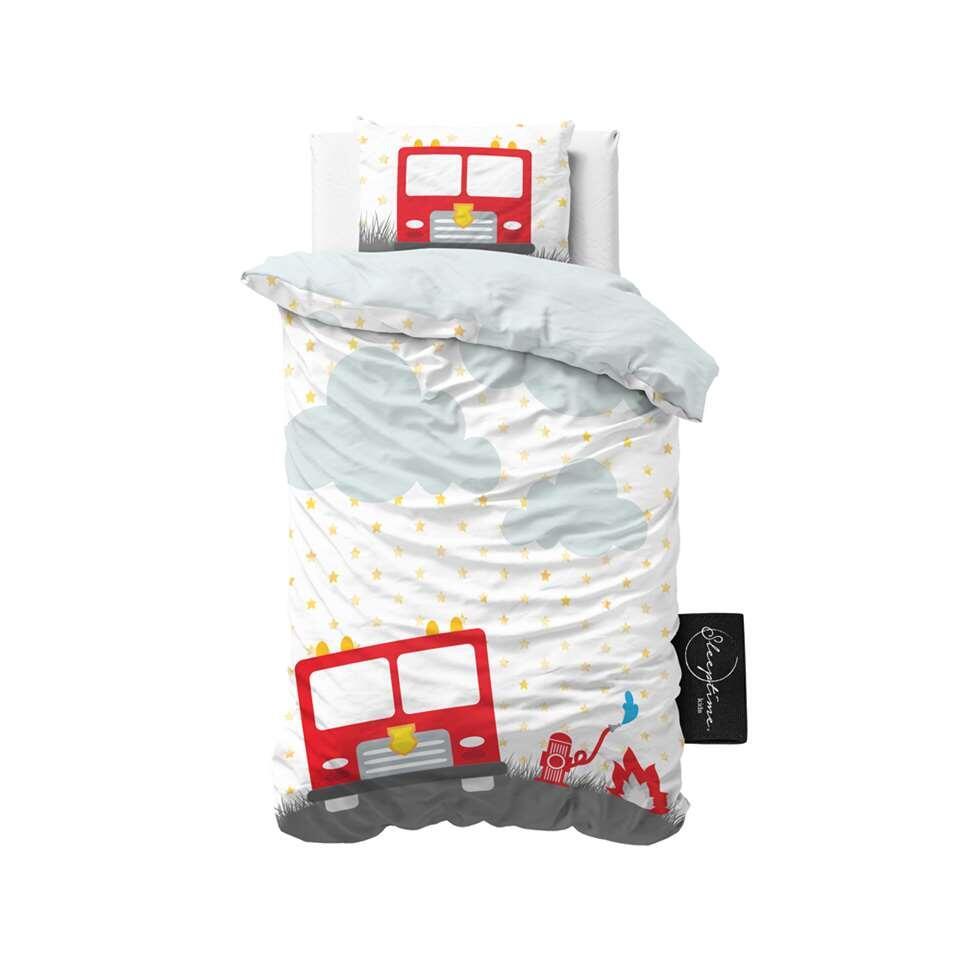 Sleeptime4kids dekbedovertrek Small fireman - wit - 140x200 cm - Leen Bakker
