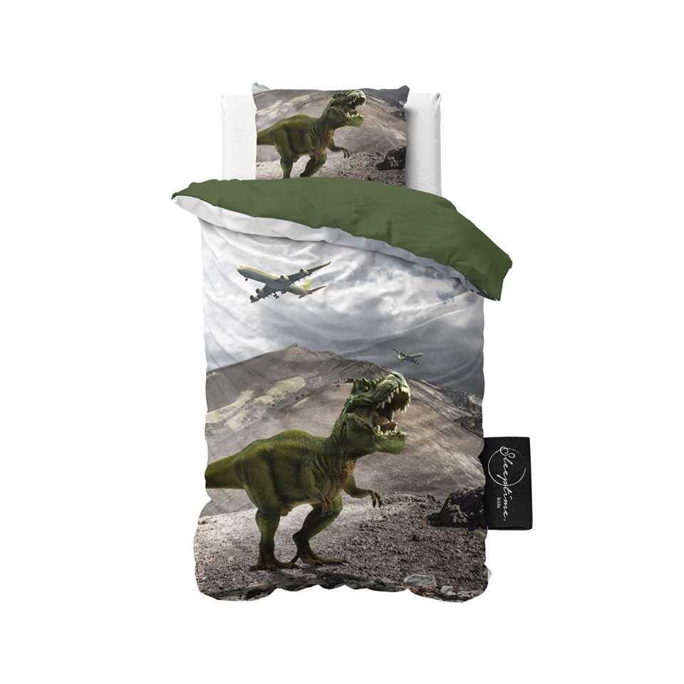 Sleeptime4kids dekbedovertrek Dinosaurs - groen - 140x200 cm - Leen Bakker