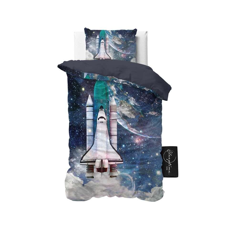Sleeptime4kids dekbedovertrek Astronaut - blauw - 140x200 cm - Leen Bakker