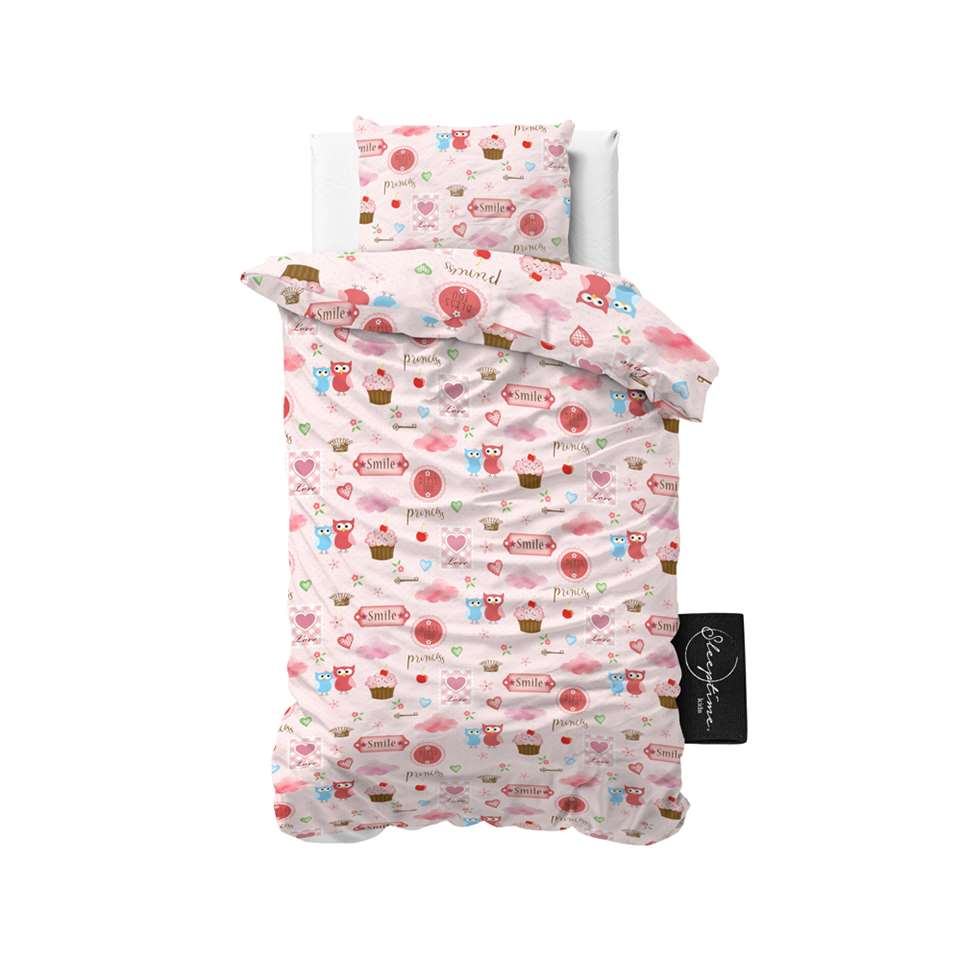 Sleeptime4kids dekbedovertrek Small love - roze - 140x200 cm - Leen Bakker