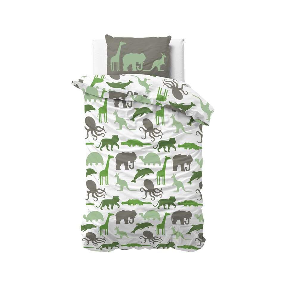 Sleeptime4kids dekbedovertrek Small dino - groen - 140x200 cm - Leen Bakker