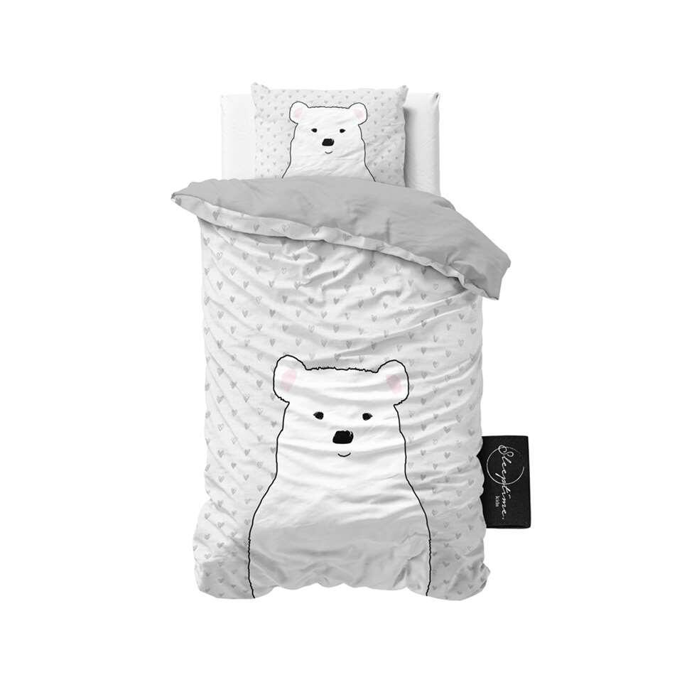 Sleeptime4kids dekbedovertrek Cute bear - grijs - 140x200 cm - Leen Bakker