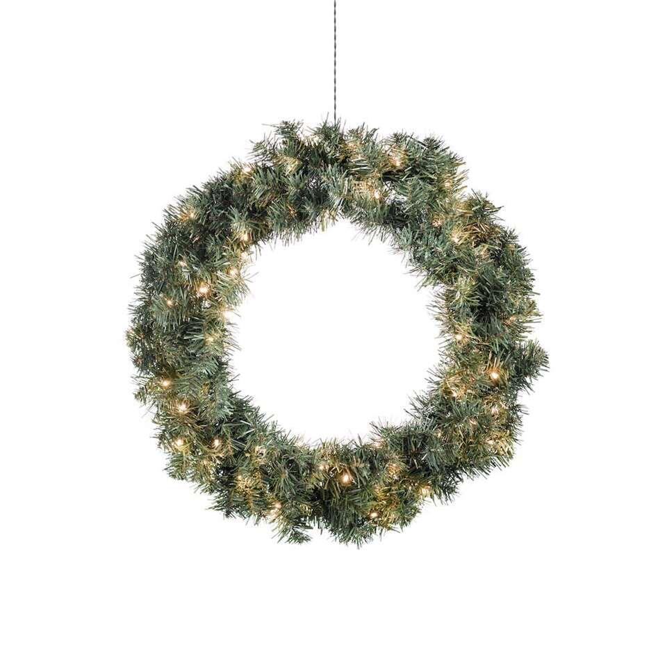 Konstsmide LED kerstkrans - 60 cm - extra warm wit - Leen Bakker