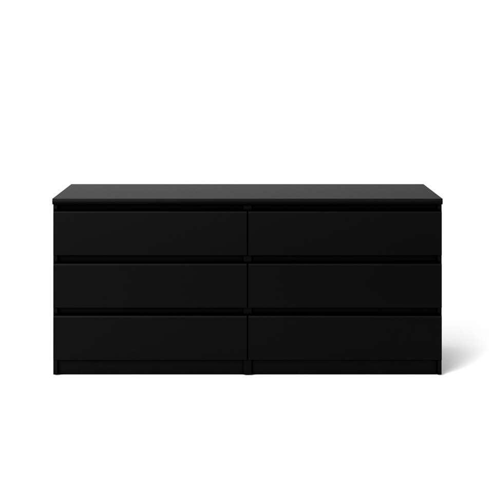 Ladekast Naia - 6 lades - mat zwart - Leen Bakker
