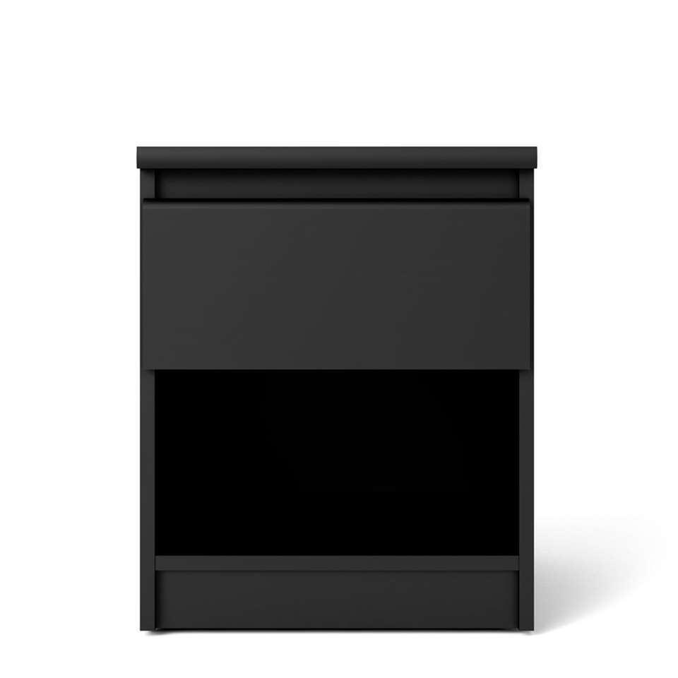 Nachtkastje Naia – 1 lade – mat zwart – Leen Bakker