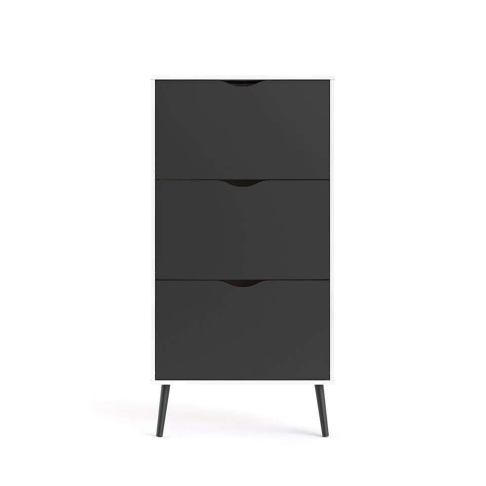 Schoenenkast Delta - wit/mat zwart - 138,8x70,2x23,9 cm