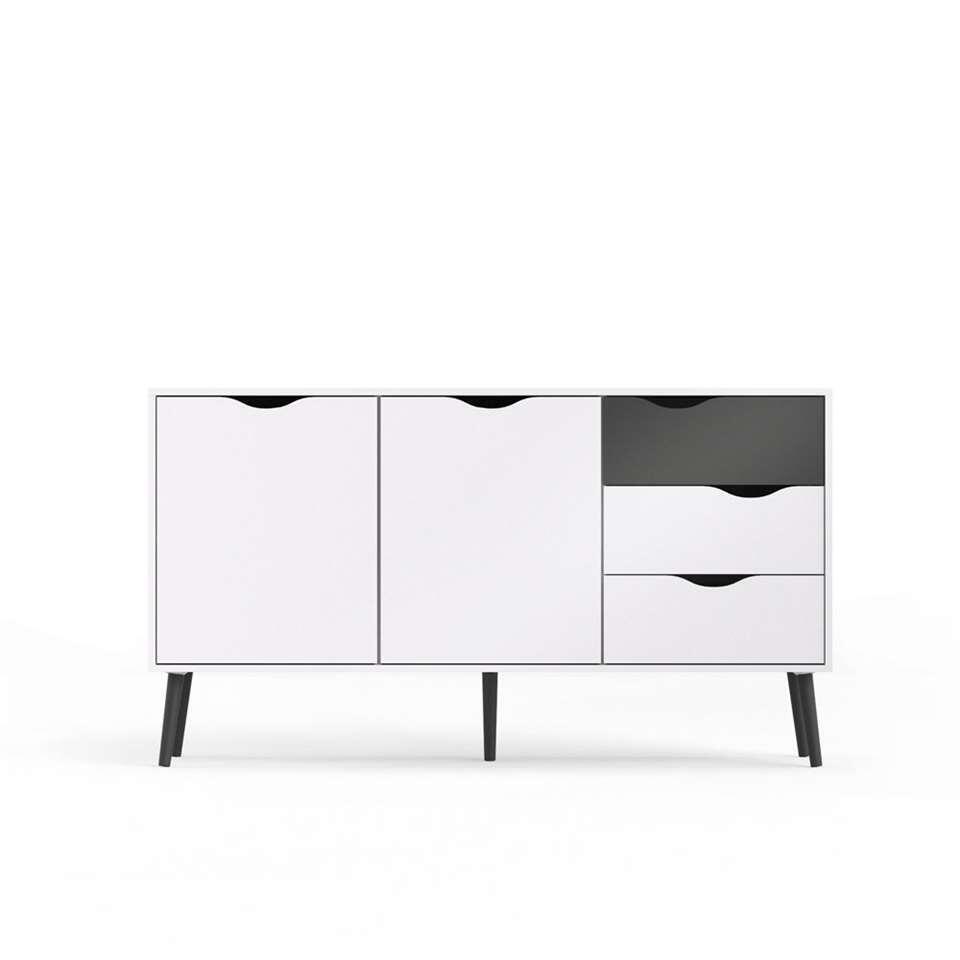 Dressoir Delta - wit/mat zwart - 81,7x147,2x39,1 cm