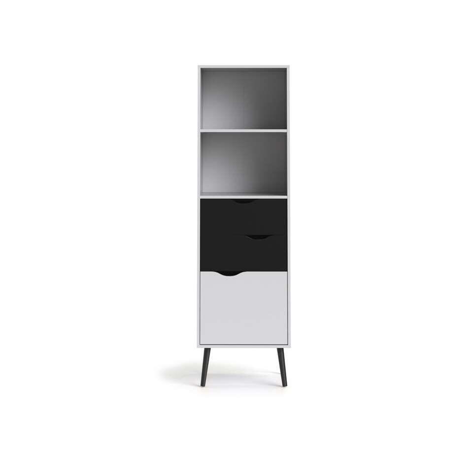Bibliothèque Delta - blanche/noir terne - 171,3x50,1x39 cm