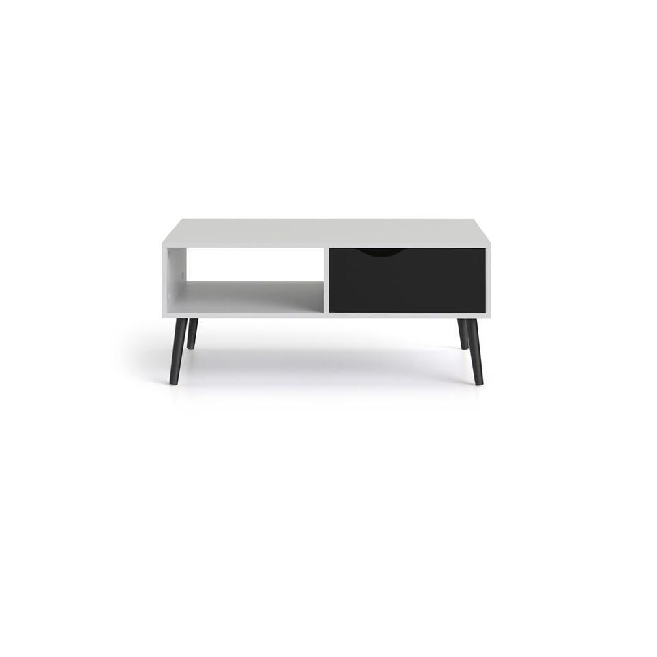 Salontafel Delta - wit/mat zwart - 43,3x98,7x60,2 cm