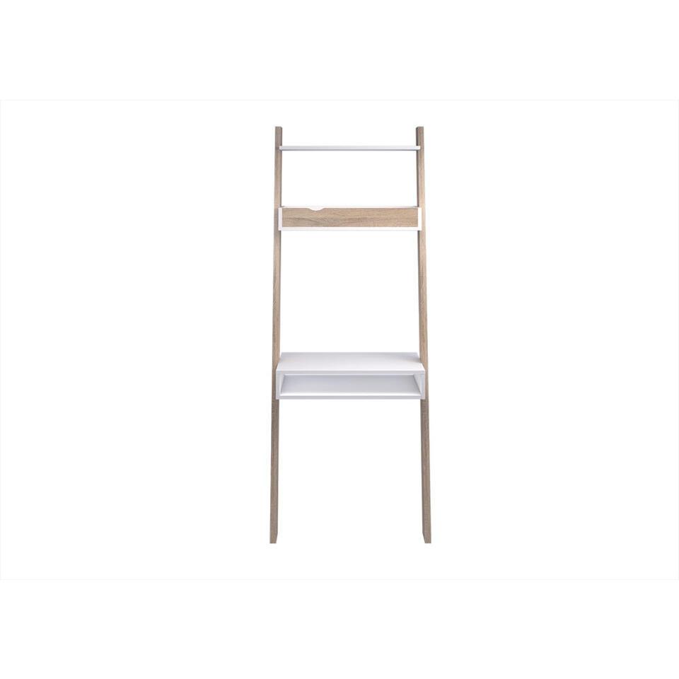 Bureau Delta - blanc/couleur chêne - 180,4x65,1x48,1 cm