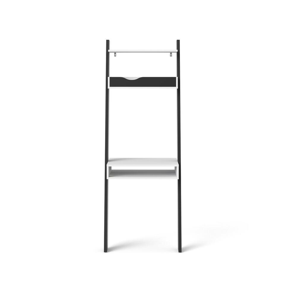 Bureau Delta - wit/mat zwart - 180,4x65,1x48,1 cm - Leen Bakker