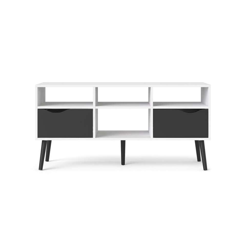 TV-meubel Delta 6 vaks - wit/mat zwart - 54,4x117,2x39x1 cm