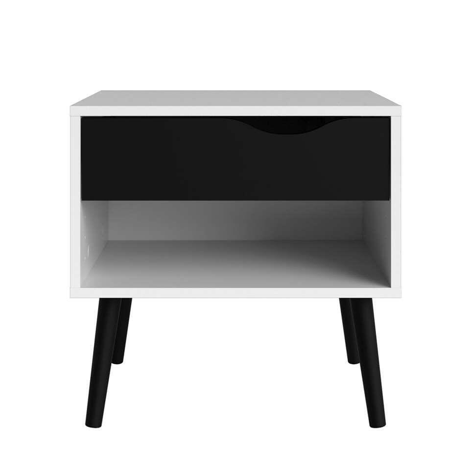 Nachtkastje Delta – 1 lade – wit/ mat zwart – Leen Bakker