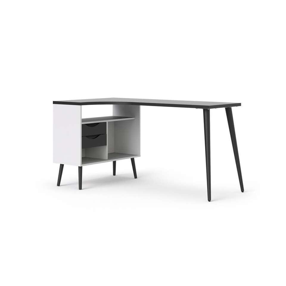 Bureau Delta – wit/zwart – 75,8×145,1×81 cm – Leen Bakker