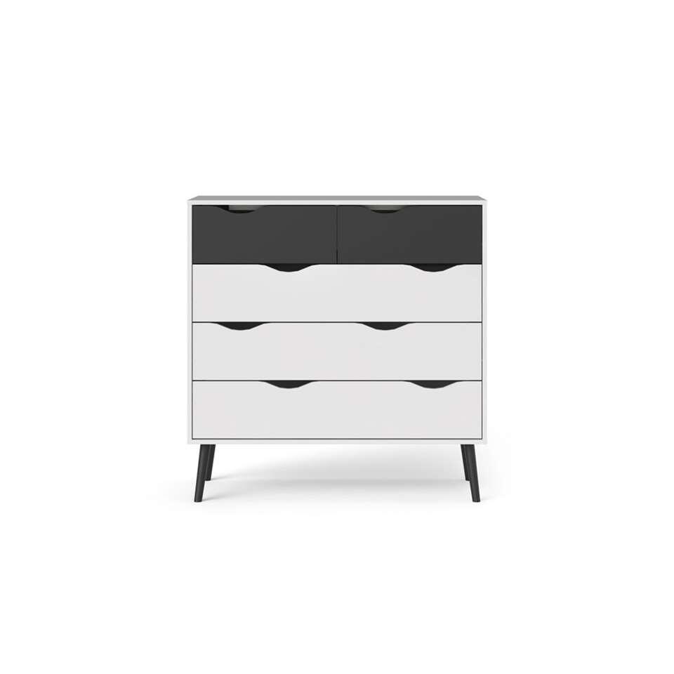 Dressoir Delta – wit/mat zwart – 100,9×98,7×39,1 cm – Leen Bakker