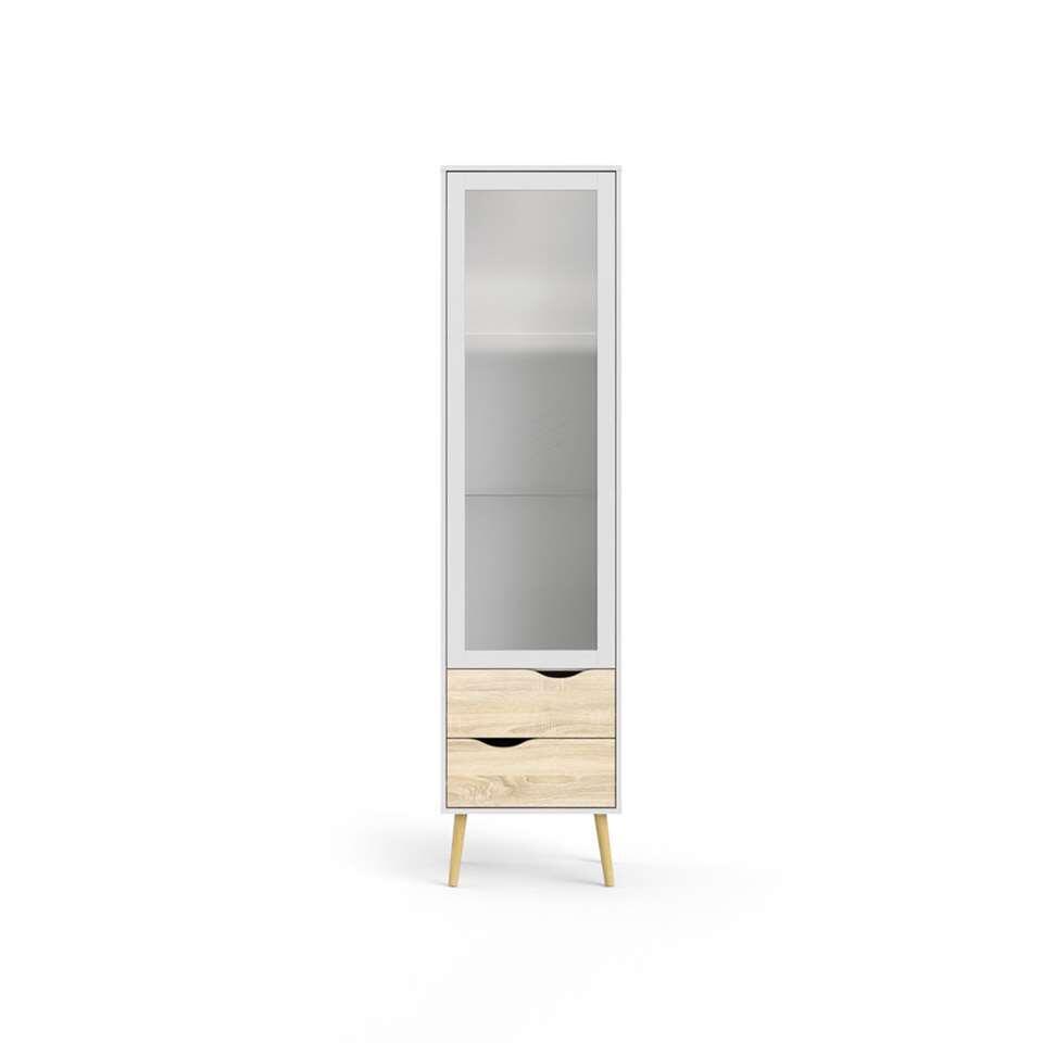 Buffetkast Delta 1 deur - wit/eiken - 200,1x50,2x39,1 cm