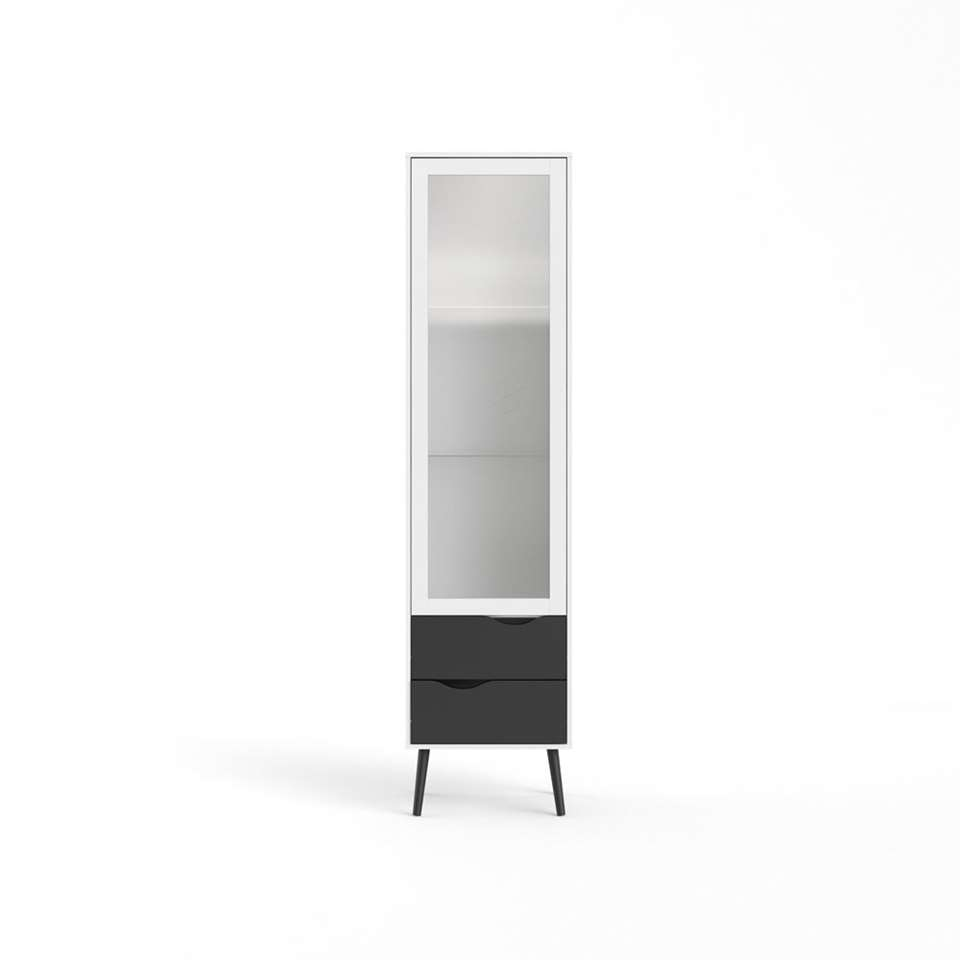 Buffetkast Delta 1 deur – wit/mat zwart – 200,1×50,2×39,1 cm – Leen Bakker